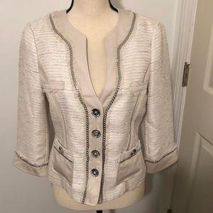 White House Black Market cream metallic blazer 4